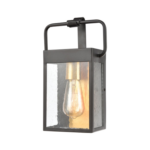 ELK Lighting 46680/1 Knowlton 1-Light Sconce in Matte Black with Seedy Glass