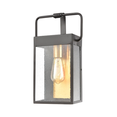 ELK Lighting 46681/1 Knowlton 1-Light Sconce in Matte Black with Seedy Glass