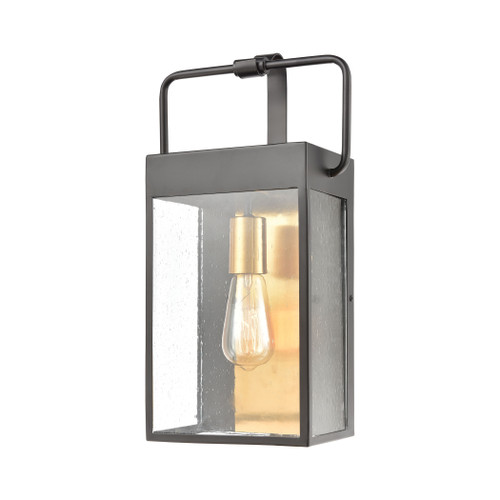 ELK Lighting 46682/1 Knowlton 1-Light Sconce in Matte Black with Seedy Glass