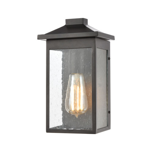 ELK Lighting 46700/1 Lamplighter 1-Light Sconce in Matte Black with Seedy Glass