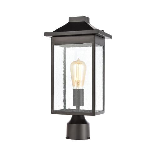 ELK Lighting 46704/1 Lamplighter 1-Light Post Mount in Matte Black with Seedy Glass