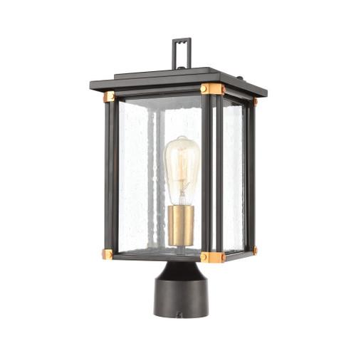 ELK Lighting 46724/1 Vincentown 1-Light Post Mount in Matte Black with Seedy Glass