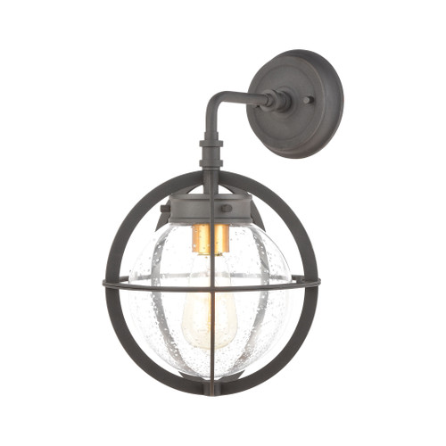 ELK Lighting 46730/1 Davenport 1-Light Sconce in Charcoal with Seedy Glass