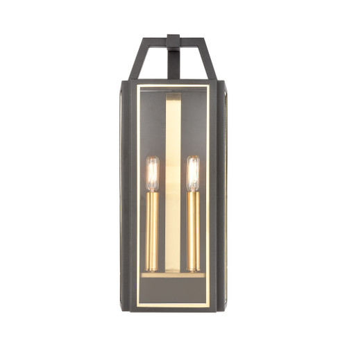 ELK Lighting 46741/2 Portico 2-Light Sconce in Charcoal with Clear Glass