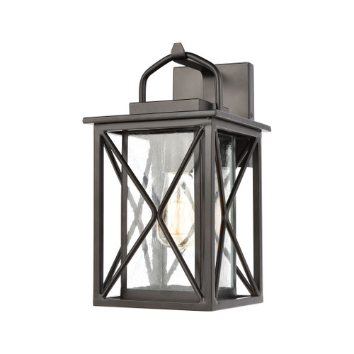 ELK Lighting 46750/1 Carriage Light 1-Light Sconce in Matte Black with Seedy Glass