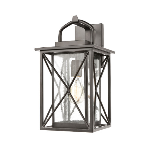 ELK Lighting 46751/1 Carriage Light 1-Light Sconce in Matte Black with Seedy Glass