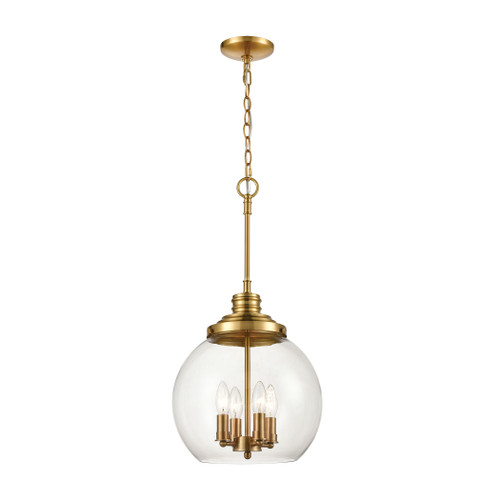 ELK Lighting 46834/4 Chandra 4-Light Pendant in Burnished Brass with Clear Glass