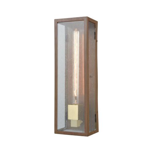 ELK Lighting 47131/1 McKenzie 1-Light Outdoor Sconce in Dark Wood Print and Brushed Brass