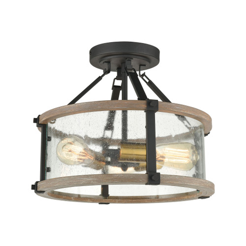 ELK Lighting 47286/3 Geringer 3-Light Semi Flush in Charcoal and Beechwood with Seedy Glass Enclosure