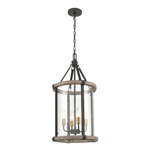 ELK Lighting 47287/4 Geringer 4-Light Pendant in Charcoal and Beechwood with Seedy Glass Enclosure