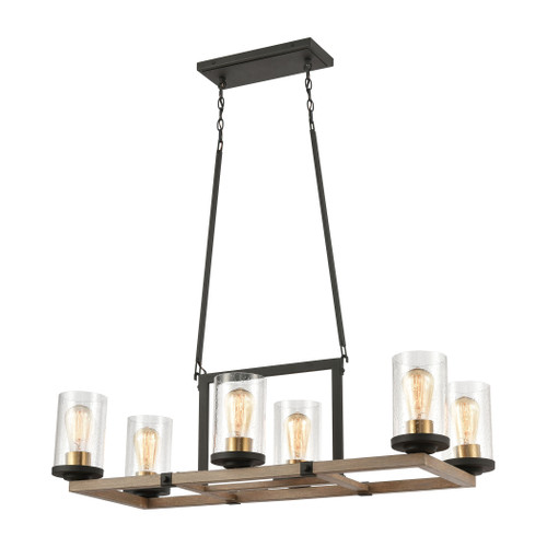 ELK Lighting 47290/6 Geringer 6-Light Island Light in Charcoal and Beechwood with Seedy Glass