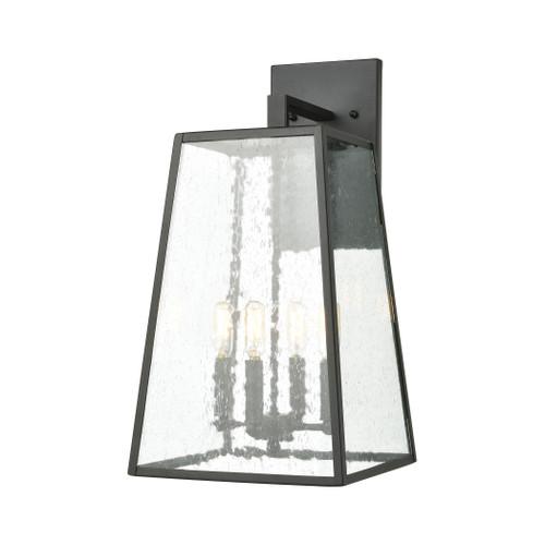 ELK Lighting 47522/4 Meditterano 4-Light Sconce in Matte Black with Seedy Glass