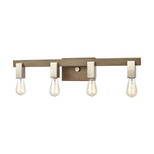 ELK Lighting 55059/4 Axis 4-Light Vanity Light in Light Wood and Satin Nickel