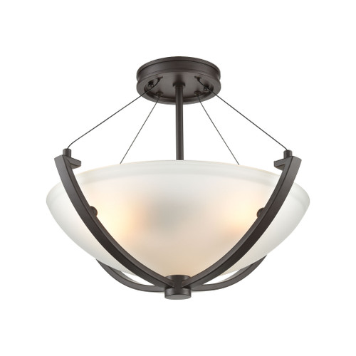 ELK Lighting 55082/3 Roebling 3-Light Semi Flush Mount in Oil Rubbed Bronze with Frosted Glass