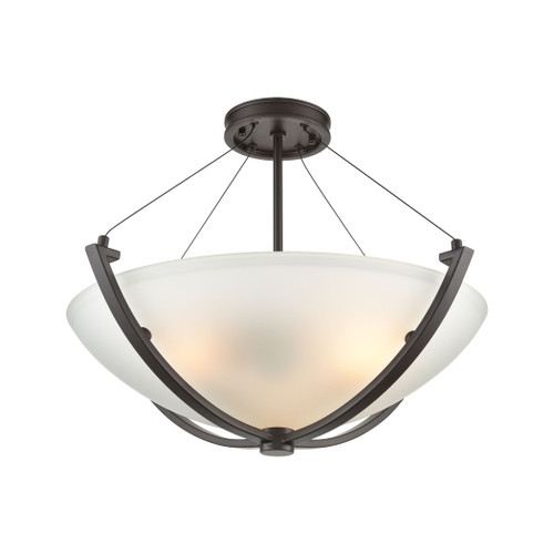 ELK Lighting 55083/3 Roebling 3-Light Semi Flush Mount in Oil Rubbed Bronze with Frosted Glass