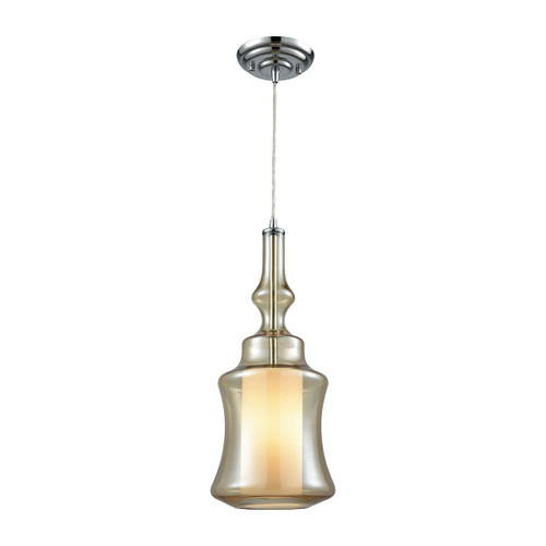 ELK Lighting 56502/1 Alora 1-Light Mini Pendant in Chrome with Champagne-plated and Opal Glass