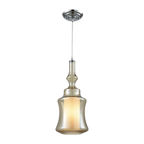 ELK Lighting 56502/1-LA Alora 1-Light Mini Pendant in Chrome with Champagne-plated and Opal Glass - Includes Adapter Kit