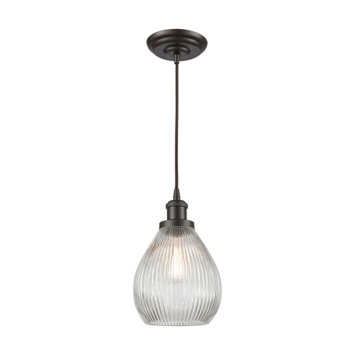 ELK Lighting 56582/1 Jackson 1-Light Mini Pendant in Oil Rubbed Bronze with Clear Ribbed Glass