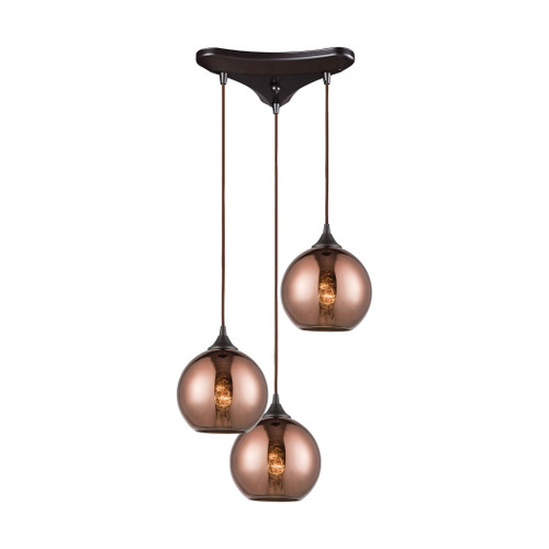 ELK Lighting 56583/3 Copperhead 3-Light Triangular Pendant Fixture in Oil Rubbed Bronze with Copper-plated Glass