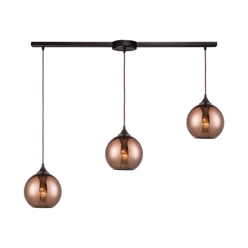 ELK Lighting 56583/3L Copperhead 3-Light Linear Mini Pendant Fixture in Oil Rubbed Bronze with Copper-plated Glass