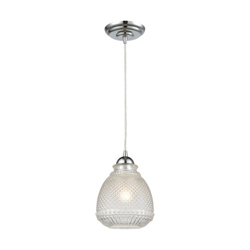 ELK Lighting 56590/1 Victoriana 1-Light Mini Pendant in Polished Chrome with Clear Crosshatched Glass