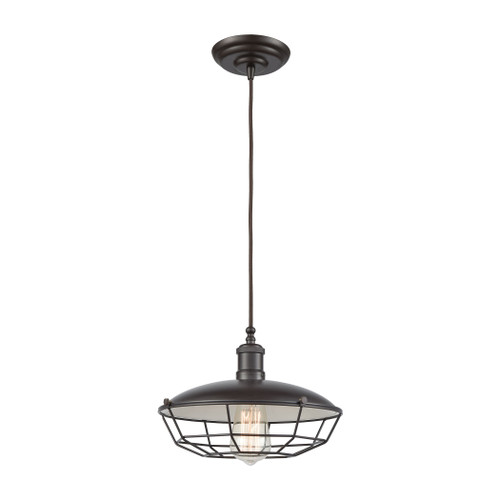 ELK Lighting 56603/1 Warehouse Pendant 1-Light Pendant in Oil Rubbed Bronze with Metal Shade and Cage