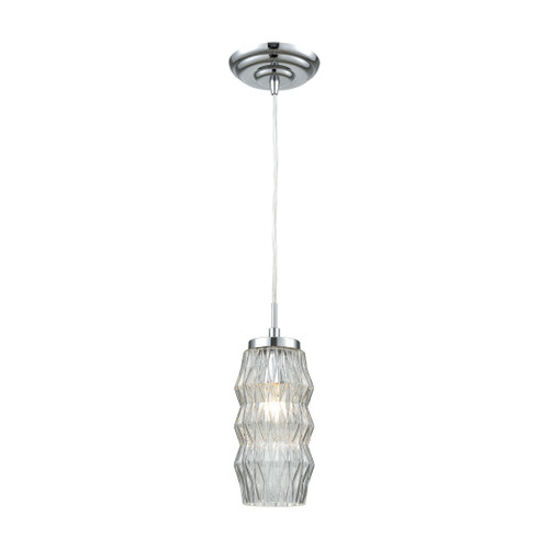 ELK Lighting 56650/1 Zigzag 1-Light Mini Pendant in Polished Chrome with Clear Patterned Glass