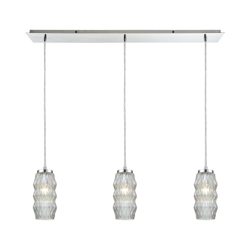 ELK Lighting 56650/3LP Zigzag 3-Light Linear Mini Pendant Fixture in Polished Chrome with Clear Patterned Glass