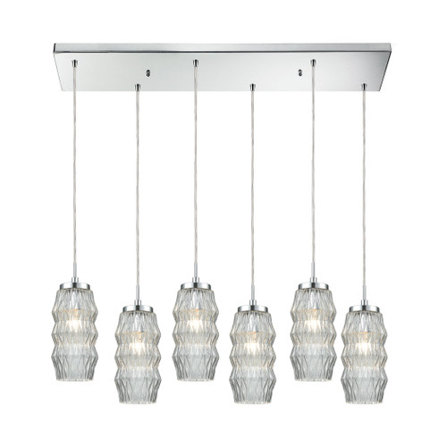 ELK Lighting 56650/6RC Zigzag 6-Light Rectangular Pendant Fixture in Polished Chrome with Clear Patterned Glass