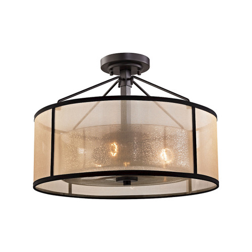 ELK Lighting 57024/3 Diffusion 3-Light Semi Flush in Oiled Bronze with Organza and Mercury Glass