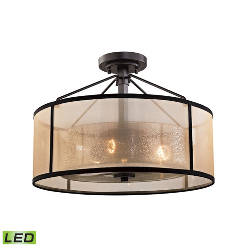 ELK Lighting 57024/3-LED Diffusion 3-Light Semi Flush in Oiled Bronze with Organza and Mercury Glass - Includes LED Bulbs