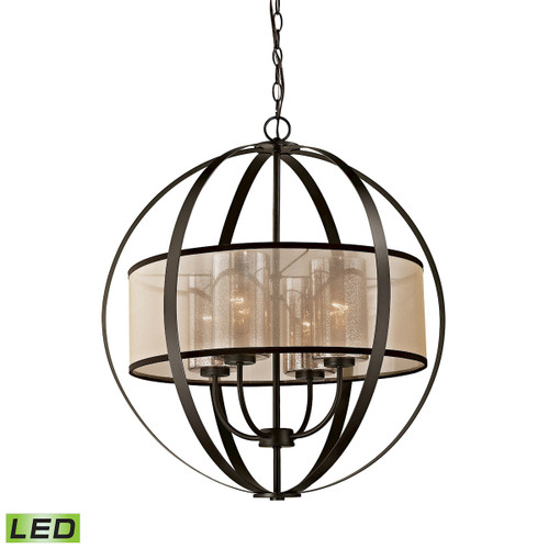 ELK Lighting 57029/4-LED Diffusion 4-Light Chandelier in Oiled Bronze with Organza and Mercury Glass - Includes LED Bulbs