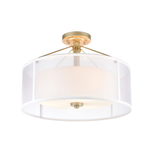 ELK Lighting 57034/3 Diffusion 3-Light Semi Flush Mount in Aged Silver with Frosted Glass Inside Silver Organza Shade
