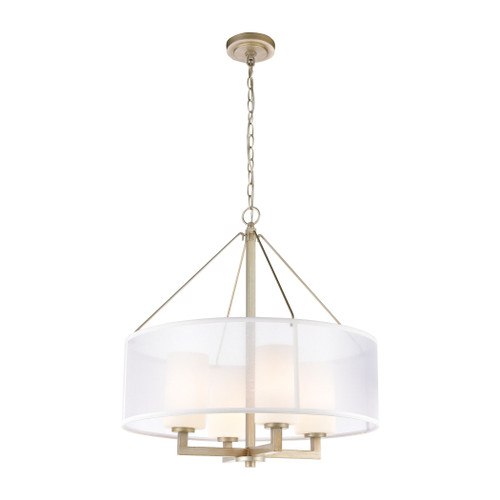 ELK Lighting 57037/4 Diffusion 4-Light Chandelier in Aged Silver with Frosted Glass Inside Silver Organza Shade