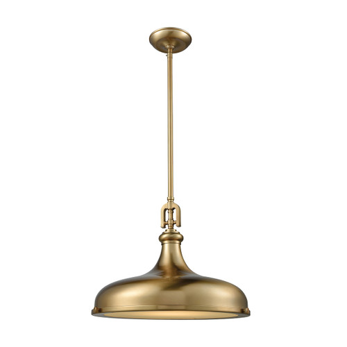ELK Lighting 57072/1 Rutherford 1-Light Pendant in Satin Brass with Metal Shade