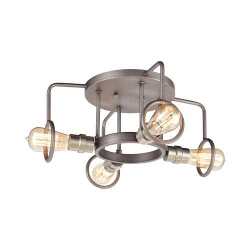 ELK Lighting 57104/4 Billings 4-Light Semi Flush Mount in Weathered Zinc