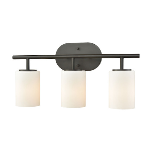 ELK Lighting 57142/3 Pemlico 3-Light Vanity Lamp in Oil Rubbed Bronze with White Glass
