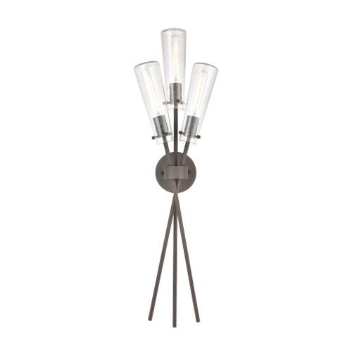 ELK Lighting 57242/3 Stix 3-Light Sconce in Bronze Rust with Seedy Glass