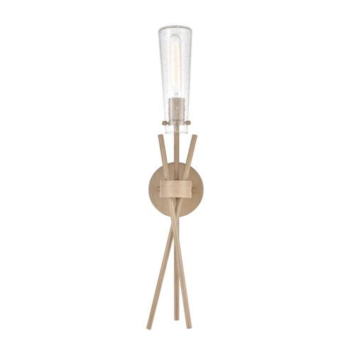 ELK Lighting 57280/1 Stix 1-Light Sconce in Light Wood with Seedy Glass