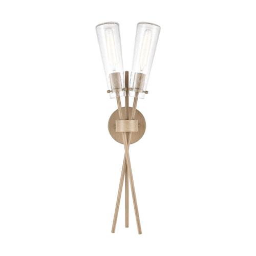 ELK Lighting 57281/2 Stix 2-Light Sconce in Light Wood with Seedy Glass
