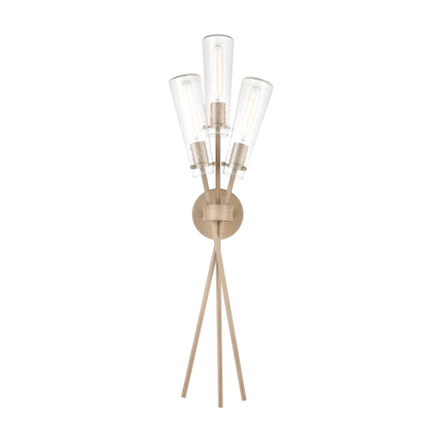 ELK Lighting 57282/3 Stix 3-Light Sconce in Light Wood with Seedy Glass