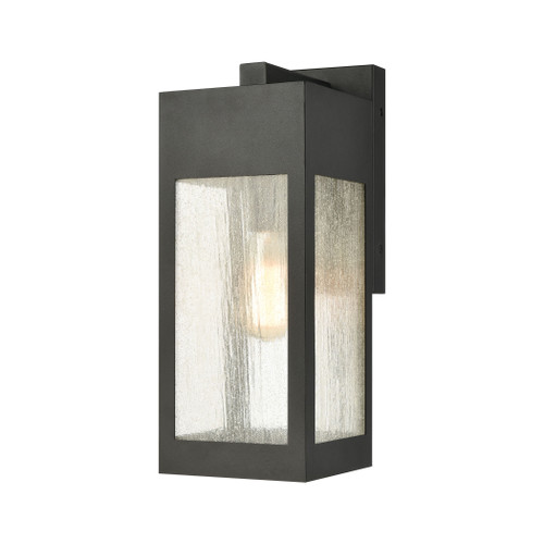 ELK Lighting 57301/1 Angus 1-Light Outdoor Sconce in Charcoal with Seedy Glass Enclosure