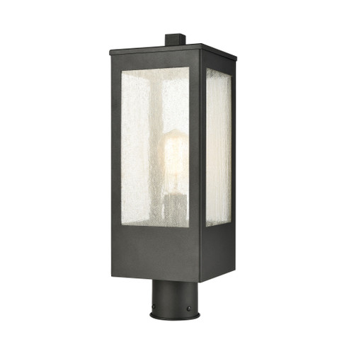 ELK Lighting 57304/1 Angus 1-Light Outdoor Post Mount in Charcoal with Seedy Glass Enclosure