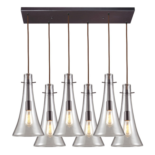 ELK Lighting 60045-6RC Menlow Park 6-Light Rectangular Pendant Fixture in Brass with Smoked Glass