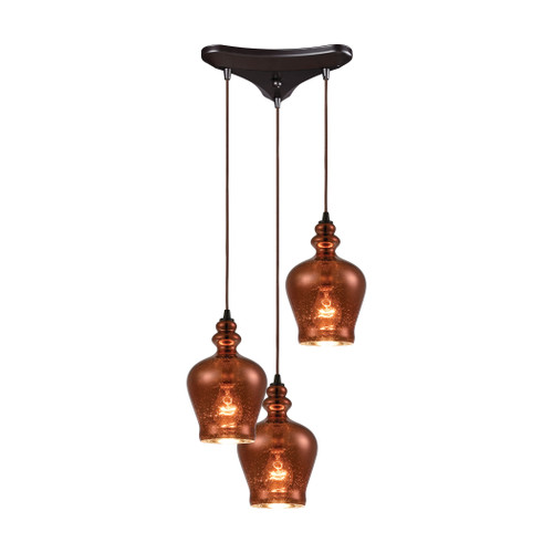 ELK Lighting 60086-3 Menlow Park 3-Light Triangular Mini Pendant Fixture in Oil Rubbed Bronze with Copper Plated Glass