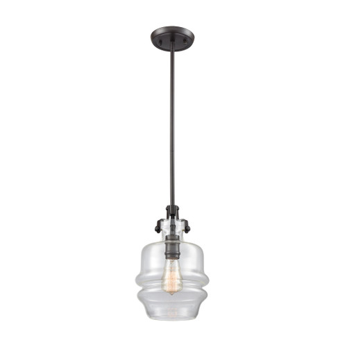 ELK Lighting 60100/1 Zumbia 1-Light Mini Pendant in Oil Rubbed Bronze with Clear Glass