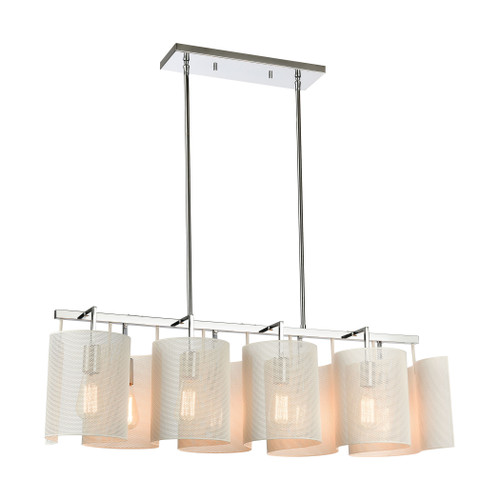 ELK Lighting 60155/8 Santa Barbara 8-Light Island Light in Polished Chrome with White Perforated Metal