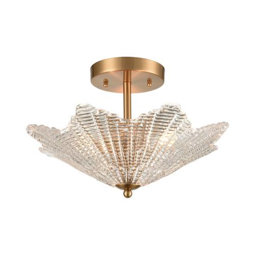 ELK Lighting 60164/3 Radiance 3-Light Semi Flush in Satin Brass with Clear Textured Glass
