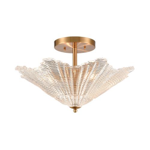 ELK Lighting 60165/4 Radiance 4-Light Semi Flush in Satin Brass with Clear Textured Glass