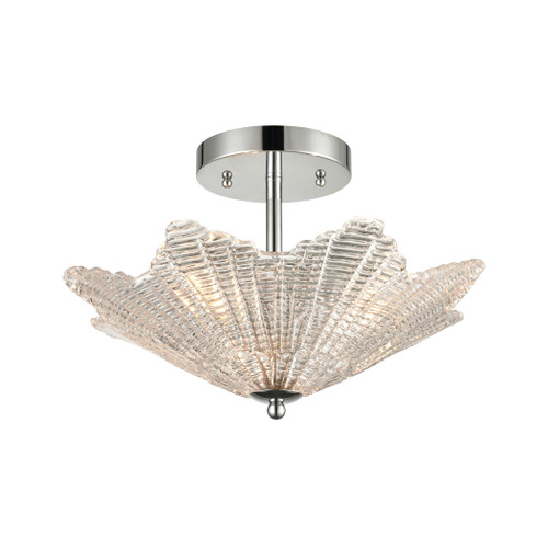 ELK Lighting 60174/3 Radiance 3-Light Semi Flush in Polished Chrome with Clear Textured Glass